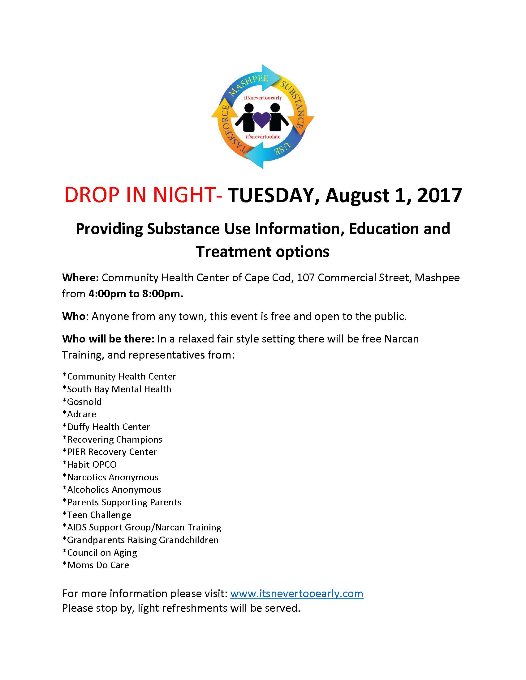 Drop in night information